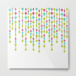 Pearl beads and hearts . Metal Print