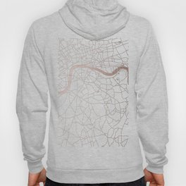 White on Rosegold London Street Map Hoody