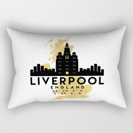 LIVERPOOL ENGLAND SILHOUETTE SKYLINE MAP ART Rectangular Pillow
