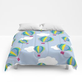 Hot air balloons and clouds - ultra violet Comforters