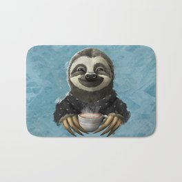 Sloth smilling with coffee latte Bath Mat
