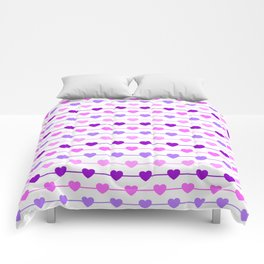 Hearts - Pink and Purple Comforters