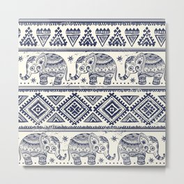 Vintage Elepant in Indian lotus ethnic illustration pattern Metal Print