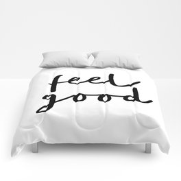 Fell Good black and white contemporary minimalism typography design home wall decor bedroom Comforters