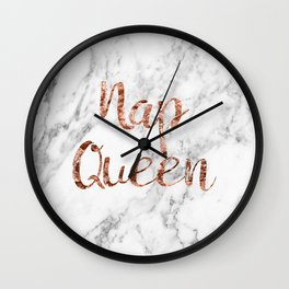 Nap queen - rose gold on marble Wall Clock