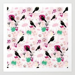 Little black bird sings Art Print