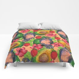 birds and avocados Comforters