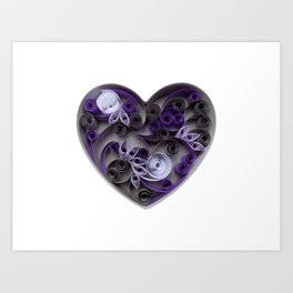 Purple Grey Love Heart Paper Quilled Colorful Heart Wedding Anniversary Gift Art Print