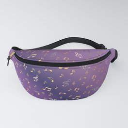 shiny music notes dark purple Fanny Pack
