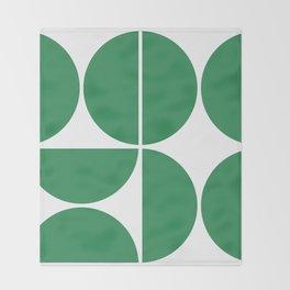 Mid Century Modern Green Square Throw Blanket