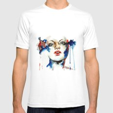 One MEDIUM Mens Fitted Tee White
