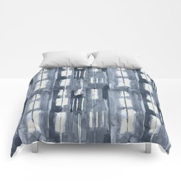 Simply Shibori Lines in Indigo Blue on Lunar Gray Comforters
