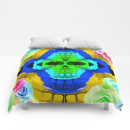 funny skull portrait with colorful roses in pink blue yellow green Comforters