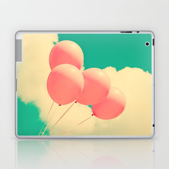 Happy Pink Balloons on retro blue sky  Laptop & iPad Skin