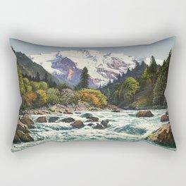 Mountains Forest Rocky River Rectangular Pillow