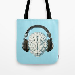 Mind Music Connection /3D render of human brain wearing headphones Tote Bag