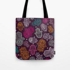 Arabic hamsa hand of Fatima art pattern design Tote Bag