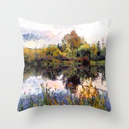 Late Afternoon Reflections on a Lake Throw Pillow