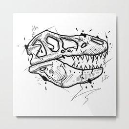T-Rex Skull Handmade Drawing, Made in pencil and ink, Tattoo Sketch, Tattoo Flash, Blackwork Metal Print