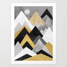 Golden mountains of the north Art Print