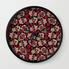 Calavera - Skull pattern day of the dead mexico flowers Wall Clock