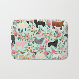 Farm gifts chickens cattle pigs cows sheep pony horses farmer homesteader Bath Mat