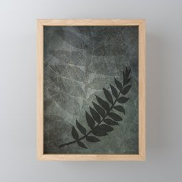 PPG Night Watch Abstract Grunge with Fern Leaf - Foliage Silhouettes Framed Mini Art Print