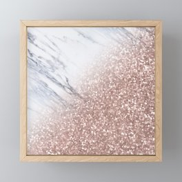 Blush Pink Sparkles on White and Gray Marble V Framed Mini Art Print