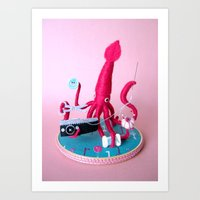Mr. Pink Squid, A Very Handy Crafter, Single Art Print