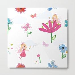 Summer Flowers, Butterflies and Fairy Pattern Wallpaper Metal Print