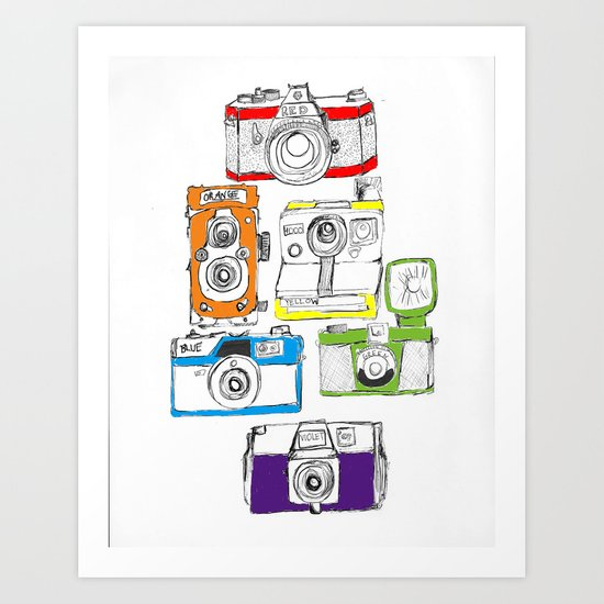 Colorful Cameras Art Print