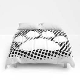Dog Paw Print With Halftone Background Comforters