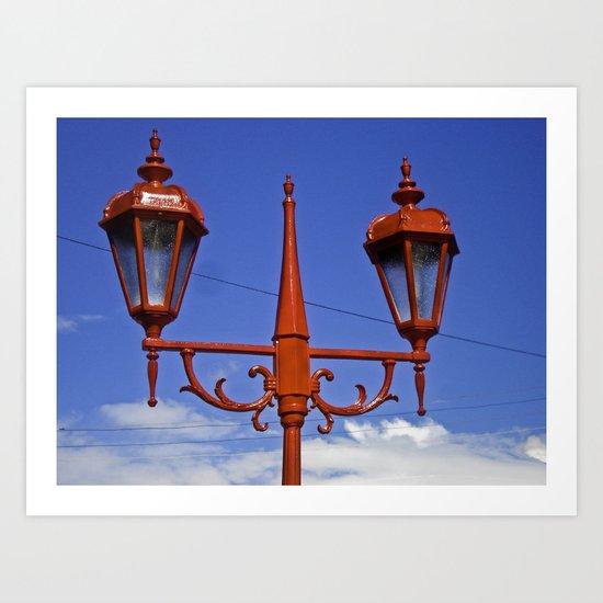 BLUE SKY RED LAMPS Art Print