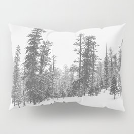 Sledding // Snowday Winter Sled Hill Black and White Landscape Photography Ski Vibes Pillow Sham