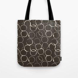 Circles Geometric Pattern Chocolate Brown Antique White Tote Bag
