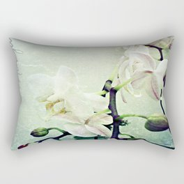 Textured White Orchid Flower Photography Rectangular Pillow