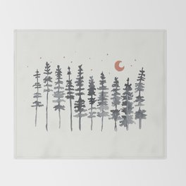 Nighttime Watercolor Forest Throw Blanket