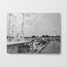 a boy and a fishing warf Metal Print