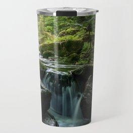 Flowing Creek, Green Mossy Rocks, Forest Nature Photography Travel Mug
