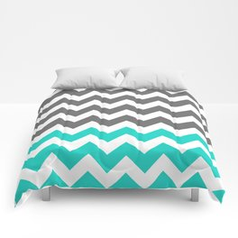Gray and Turquoise Zigzags  Comforters
