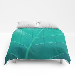 Leaf in Aqua Comforters