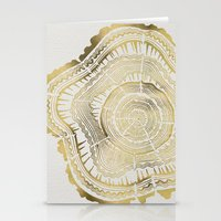 paint Stationery Cards featuring Gold Tree Rings by Cat Coquillette