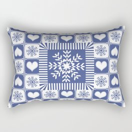 Hearts and Snowflakes Blue and White Rectangular Pillow