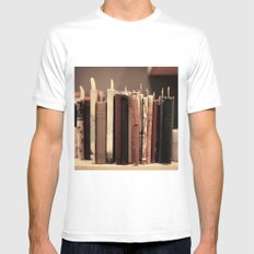 Old Books (brown) MEDIUM White Mens Fitted Tee