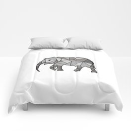 Elephant geometric, bishop grey, home decor, Graphicdesign Comforters