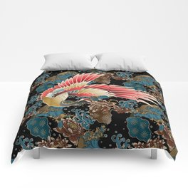 cranes and waves Comforters