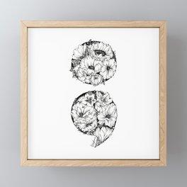 floral semicolon Framed Mini Art Print
