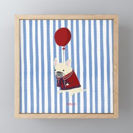 French Bulldog with Stripe Framed Mini Art Print