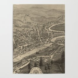 Vintage Pictorial Map of Littleton NH (1883) Poster
