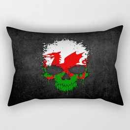 Flag of Wales on a Chaotic Splatter Skull Rectangular Pillow
